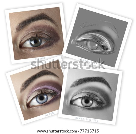 before and after of a woman's eye retouching - close-up of professional high-end image retouch, including contouring illustration - stock photo