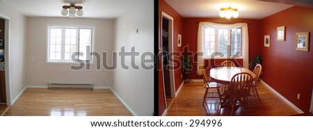 before and after of dining room of house - stock photo