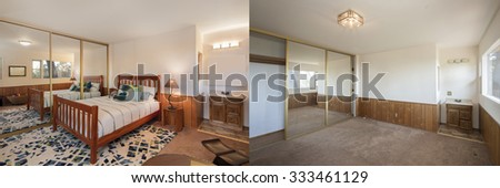Before and After photo of bedroom with wooden panels, large mirror and wash basin. Professional Home Staging ideas. - stock photo