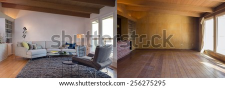 Before and After photo of living room interior with hardwood, couch, hand-woven natural colored fine sisal rug open space living room within nature. - stock photo