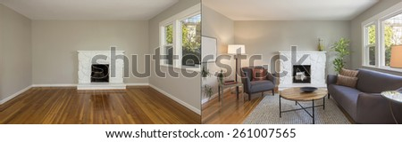Before and After photo of mid century of living room interior with hardwood floor and fire place. Couch with wooden table in living room within nature. - stock photo