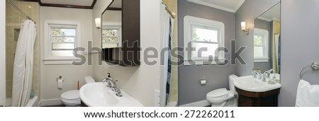 Before and After photo of remodeled bathroom with new appliances and paint job. - stock photo