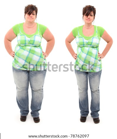 Before and after shot of 45 year old overweight woman standing over white. - stock photo
