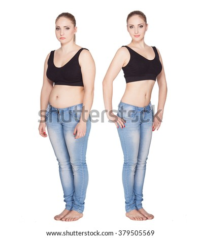 before and after weight loss. rejuvenation. Fat woman  comparison thin woman. Concept diet food. - stock photo
