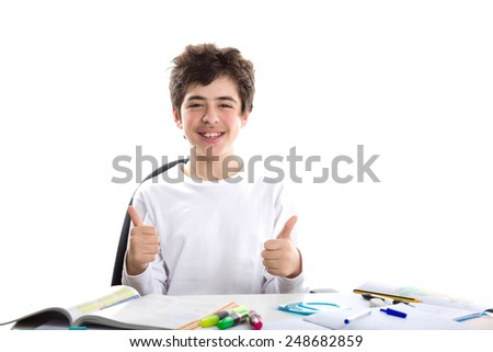 Before homework, handsome Caucasian smooth-skinned boy is smiling and tying around the forehead a yellow measure tape in as Japanese suicide bombers did during World War.  - stock photo