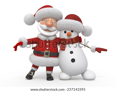 Before New Year's vanity with gifts/3d Santa Claus with a snowman - stock photo