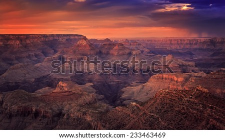 Before Night Falls on the Canyon, Grand Canyon National Park, Arizona - stock photo