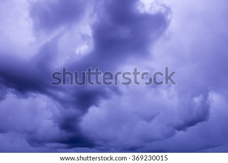 Before storm. Dark blue sky with clouds. natural background - stock photo