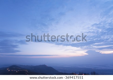 Before sunrise - early morning pink and purple colors of the sky - stock photo