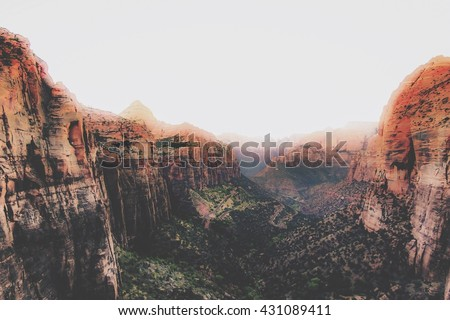 Before sunset at Zion national park, USA - stock photo