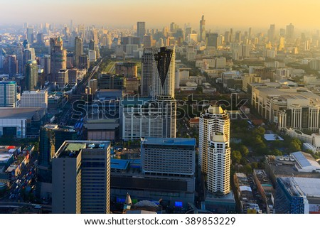 Before sunset over Bangkok city downtown areal view, Thailand - stock photo