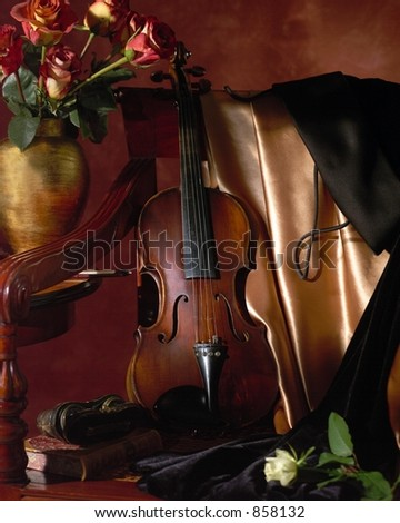 Before the Concert Violin Still Life - stock photo