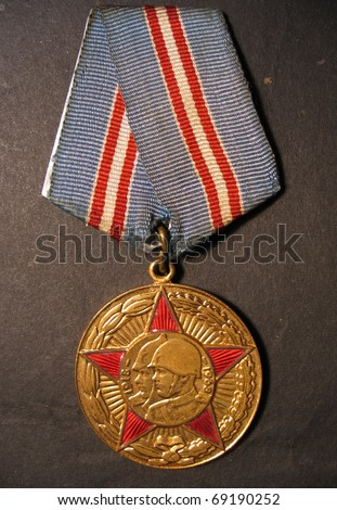 Before the medal, 50 years of Soviet armed forces in USSR. - stock photo