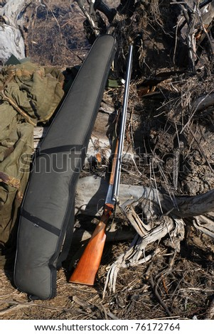 before the spring hunt. hang cooked charged guns - stock photo
