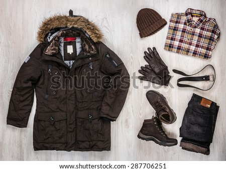 Before the walk. Winter apparel. - stock photo