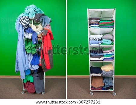 Before untidy and after tidy wardrobe with colorful clothes and accessories. Messy clothes thrown on a shelf and nicely arranged clothes in piles - stock photo