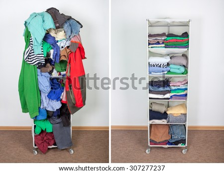 Before Untidy And After Tidy Wardrobe With Colorful Clothes Accessories Messy Thrown On