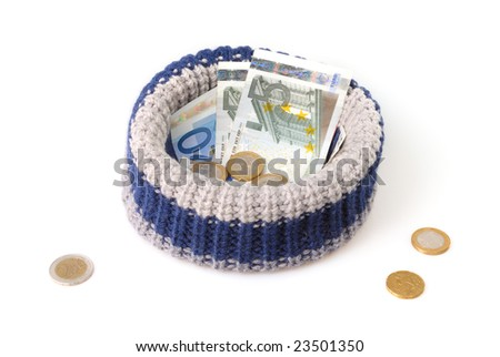Beggar hat isolated on white - stock photo