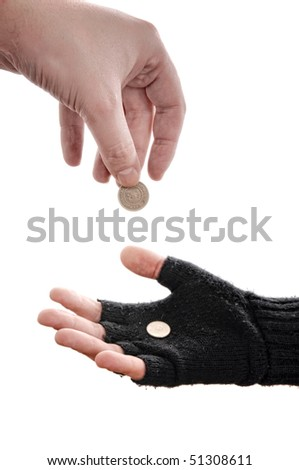 Beggar man hand with coins, image is isolated on white background. - stock photo