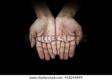 Beggar people and human poverty concept - person hands begging for food or help