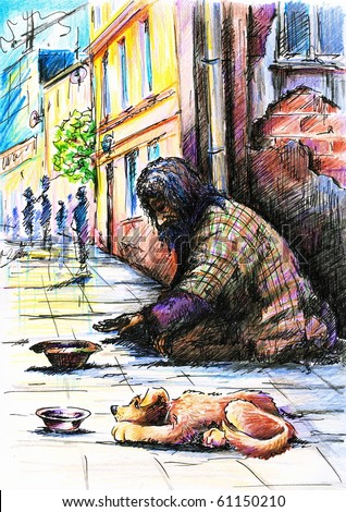 Beggar with dog on the street.Picture I have created with pen and colored pencils. - stock photo