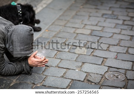 Begger on the stree - stock photo