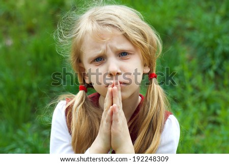 begging girl - stock photo