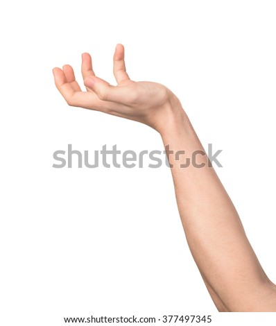 begging hand palm up isolated on white background - stock photo