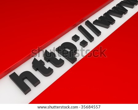 begining of the web adrress in 3d - stock photo