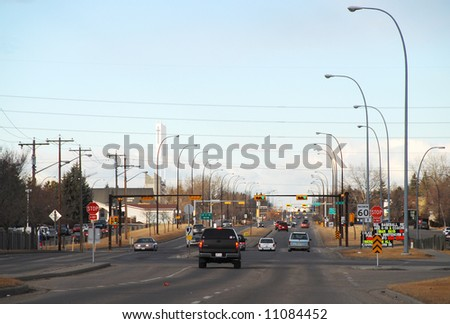 beginning of a day at intersection - stock photo