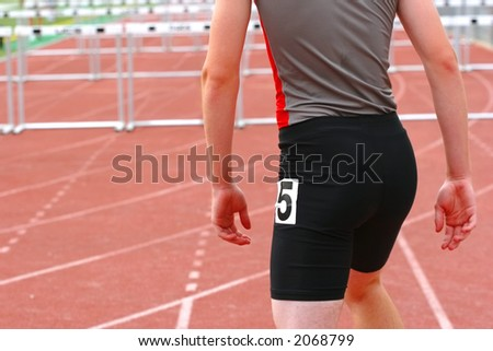 Beginning of a Hurdle race - stock photo