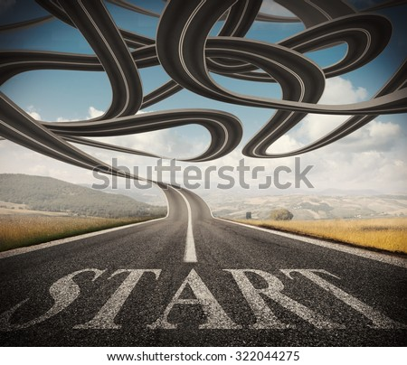 Beginning of a winding and complicated road - stock photo