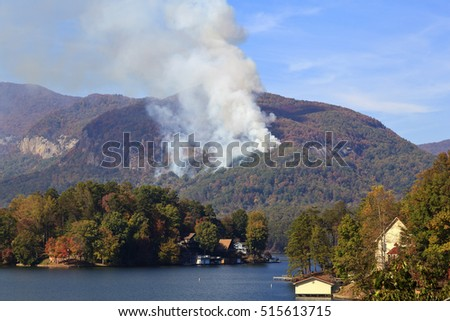 Beginning of the Lake Lure forest fire in the fall of 2016 in North Carolina at Chimney Rock