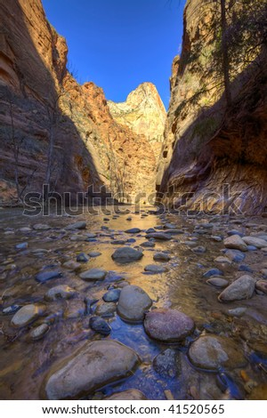 Beginning of The Narrows at Zion National Park. - stock photo