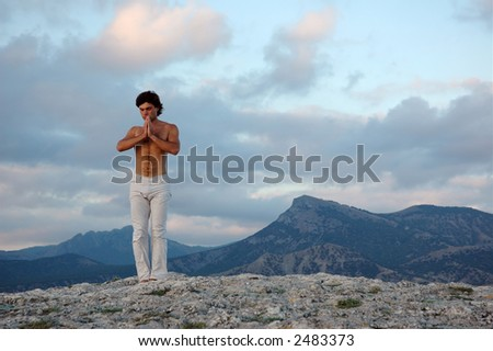 Beginning of yoga practice - stock photo