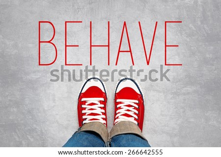 Behave Reminder for Young Person in Red Sneakers about to make a Step and Join the Party, Top View. - stock photo