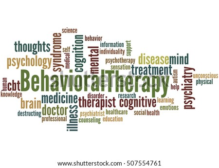 Behavioral Therapy, word cloud concept on white background.