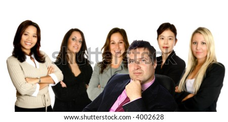 Behind every successful businessman. A man leading a team of business women from diverse background made up of a caucasian, a mediterranean, an Asian and a Japanese woman,  isolated on white. - stock photo
