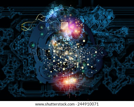 Behind Reality series. Composition of gears, fractal forms, lights and numbers with metaphorical relationship to reality, philosophy, metaphysics and modern technology - stock photo