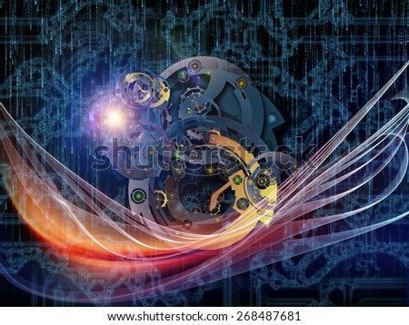 Behind Reality series. Design composed of gears, fractal forms, lights and numbers as a metaphor on the subject of reality, philosophy, metaphysics and modern technology - stock photo
