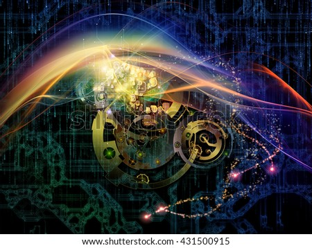 Behind Reality series. Design composed of gears, fractal forms, lights and numbers as a metaphor on the subject of reality, philosophy, metaphysics and modern technology