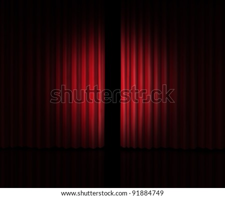 Behind The curtain as a peek into a new announcement on rumors of new products and movies or store opening with red velvet drapes that are slightly opened to look inside private information. - stock photo