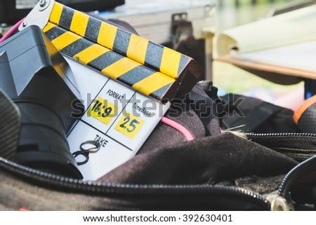 behind the scene,Film Slate on set - stock photo