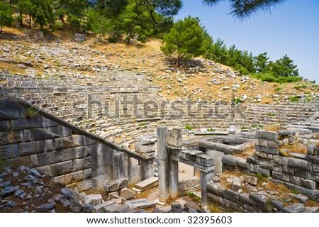 Behind the scene of roman theater, Turkey - stock photo