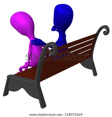 Behind view blue puppet consolation another on bench - stock photo