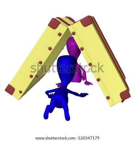 Behind view blue puppet creep under opened case - stock photo