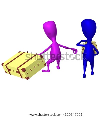 Behind view puppet drags heavy case in hurry - stock photo