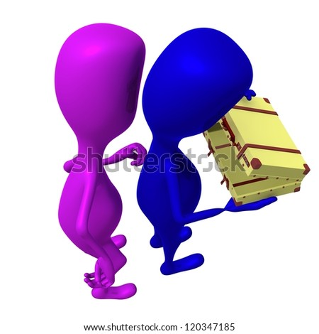 Behind view puppet open small case with caution - stock photo