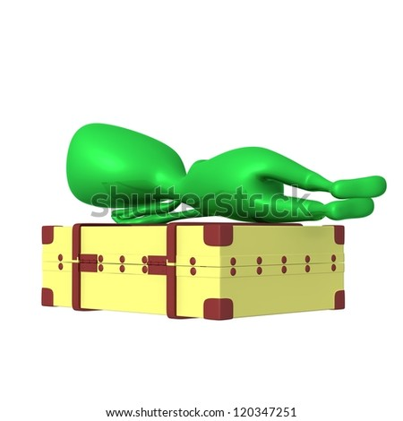 Behind view puppet sleeping calmly on big suitcase - stock photo
