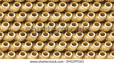 beige abstract 3d background pattern made of strange tube objects with grunge (seamless)